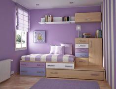 Teen Room, Charming Purple Girls Bedroom Ideas Furniture Bedroom Charming Purple Bedroom For Teenage Girls With Violet Wall Color And Wooden Wall Shelves And Space Saving: Finding the Most Popular and Cool Teenage Room Designs Nowadays Girl Room, Room Design, House Interior, Bedroom Decor, Kid Room Decor, Purple Bedroom, Bedroom Design, Small Bedroom, Home Decor