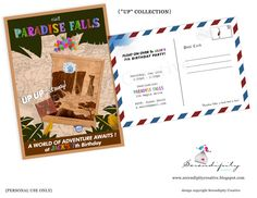 """Our """"UP Collection"""" """"Visit paradise Falls Postcard invites""""."""
