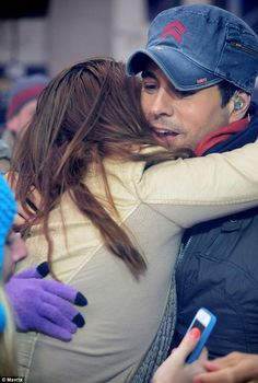 one lucky woman got a big hug from the handsome star.