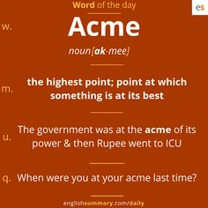 Acme Meaning in English, Pronunciation and Use