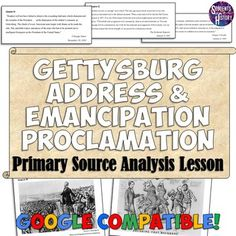 Love these Gettysburg Address and Emancipation Proclamation Primary Sources for my Civil War unit in US History! Civil War Activities, Teaching Activities, History Activities, History Teachers, Teaching History, Abraham Lincoln Gettysburg Address, Middle School History, 4th Grade Social Studies, Short Essay