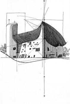 Pen and Ink Sketching. Ryan Patterson Corbu: Ronchamp (Le Corbusier - France), Pen and ink on paper, 2007 Le Corbusier Architecture, Architecture Design, Plans Architecture, Japanese Architecture, Architecture Drawings, Concept Architecture, Ancient Architecture, Mughal Architecture, Landscape Architecture