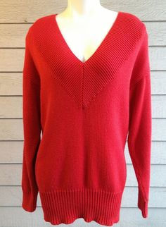 vintage 80s Nordstrom tunic sweater with deep v neck in cherry red.  Valley Girl style | ReRunRoom | $30.00