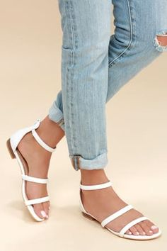 The Lulus Quin White Flat Sandals are leading the pack in classic style! Sleek vegan leather makes up these essential flat sandals including a peep-toe upper, strappy vamp, and ankle strap with elastic for fit. Cute Sandals, Lace Up Sandals, Flat Sandals, Leather Sandals, Women Sandals, Shoes Women, Sandal Heels, Ladies Shoes, Shoes Sandals