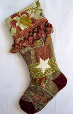 Christmas Stocking  in cranberry Victorian crazy quilt patchwork with white star