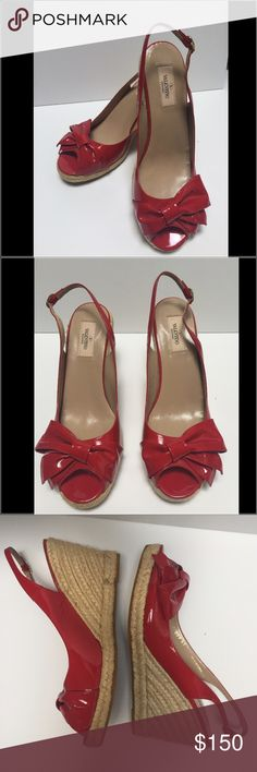 "Valentino Bow Espadrille Wedges Red patent leather Valentino peep-toe espadrille with bow accents at tops, covered heel and sling back closure. 1/2"" platform + 3"" wedge heel. NWOT. Size 41. Ships with Valentino dustbag. Valentino Shoes Espadrilles"