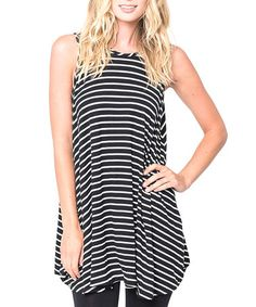 Love this Black & Ivory Stripe Tank by Caralase on #zulily! #zulilyfinds