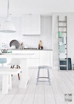 subway tile design, White on white kitchen