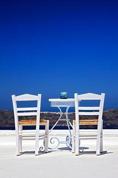 "aegean sea ""Have a seat over the Caldera"" by Hercules Milas Framed Art Prints, Canvas Prints, Santorini Island, Block Wall, Outdoor Furniture Sets, Outdoor Decor, Hercules, Greek Islands, Wall Tapestry"