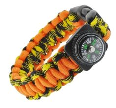 Orange and Yellow Paracord Survival Bracelet with a Compass, 8 Inches - http://www.jewelryfashionlife.com/orange-and-yellow-paracord-survival-bracelet-with-a-compass-8-inches/