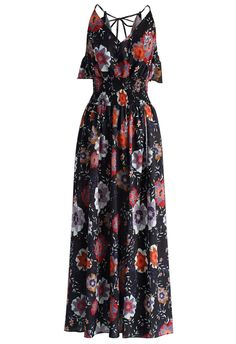 Sweet Aroma Floral Maxi Dress in Black - Dress - Retro, Indie and Unique Fashion