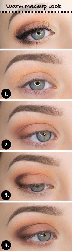 """Using a large, blending brush apply peach eyeshadow in and above your crease. The shadow will help colors blend together more seamlessly. Step 2: With a flat eyeshadow brush, apply medium brown shadow on your lid. Step 3: Dip your pencil brush into a dark brown shadow and create a """"V"""" shape. Step 4: Time to soften the shape with a blending brush! Highlight the inner corner of the eye with a off-white shadow or pencil."""