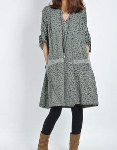 Cotton long sleeve dress, casual, loose