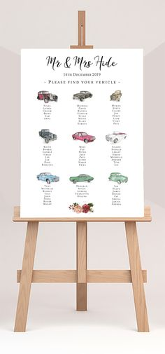 9 classic car illustrations for each table to bring together car theme wedding. Wedding stationery to match, Hide Floral design. Wedding Table Themes, Card Table Wedding, Seating Plan Wedding, Wedding Place Cards, Homemade Wedding Decorations, Gold Wedding Decorations, Car Themed Wedding, Car Themes, Cute Wedding Ideas