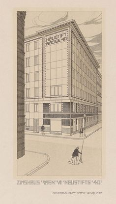 Otto Wagner: perspective drawing of the apartment building at Neustiftgasse 40, Vienna, 1909