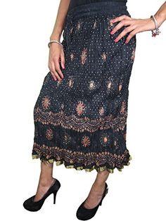 Womens Crinkle Skirts Black Sari Lace Work Gypsy Bohemian Mid Length Skirt Mogul Interior http://www.amazon.com/dp/B00TDPRXQC/ref=cm_sw_r_pi_dp_trJ2ub0SMP4YY