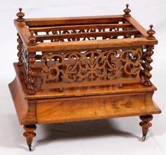 ~ Victorian Burl Walnut Magazine Rack ~ auctions.bidsquare.com