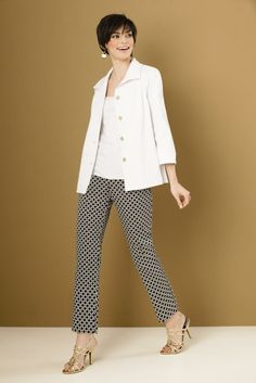 Attyre jacket with Attyre geometric pattern pull on ankle pants. #SteinMart