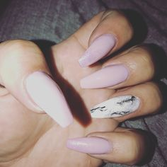 Dusty pink with black and white marble accent nail