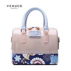 VENUCO斜挎包果冻包女波士顿手提包迷你小包透明防水印花包包女包