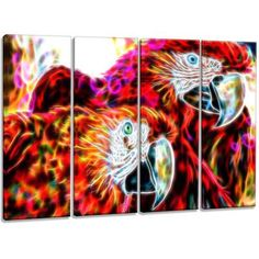 DesignArt Metal 'Macaw Parrot Duo' 4 Piece Graphic Art Set on Wrapped Canvas