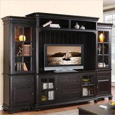 Riverside Furniture Beacon Point TV Entertainment Center in Pepper Black