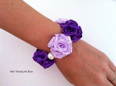 Wrist Corsage / Spring (Purple) Little Bouquets of satin roses (elastic wristlet)