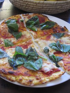 Cauliflower pizza base - gluten free and low carb Cauliflower Pizza Base Recipe, Cauliflower Recipes, Riced Cauliflower, Low Carb Recipes, Real Food Recipes, Cooking Recipes, Healthy Recipes, Healthy Foods, Yummy Food