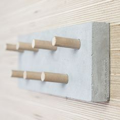Industrial multifunctional concrete hanger with wooden hooks