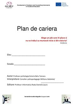 Development of Guidance and Counselling Instruments in Vocational Education Plan de cariera Alege un job care iti place. Un Jobs, Counseling, How To Plan, Education, Learning, Model, Instruments, Author