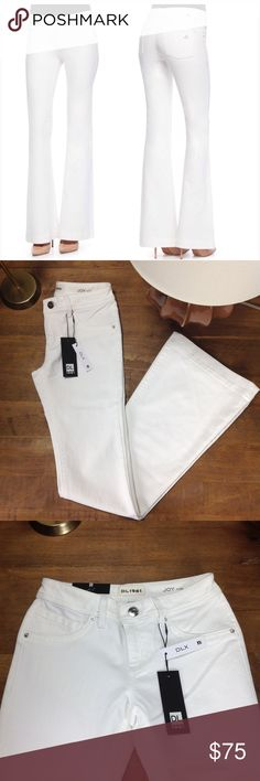 """DL1961 White Flare """"Joy"""" Jeans New with tags white flare """"Joy"""" jeans with 5 pocket design. Features Smart Denim technology that provides 360 degree movement and 96% shape retention that makes these jeans perfect for curves. In excellent new condition. Thanks for your interest!  Please checkout the rest of my closet. DL1961 Jeans Flare & Wide Leg"""