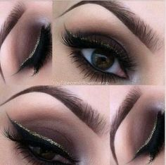 LOVE the top portion liner with gold glitter liner. Repeat: LOVE