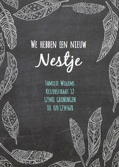 Originele verhuiskaart van krijtbord look met getekende veertjes in wit, verkrijgbaar bij #kaartje2go voor € 0,99