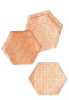 Metallic Leather Hexagon Coasters for the coffee table. How fun! Follow us at www.birdaria.com. Love it, Like it, Pin it!!