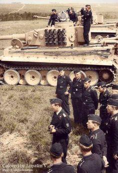 German Tiger tanks & crew, France 1943.