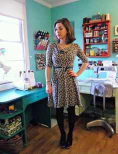 Leopard Knit Dress by lladybird. Made with ponte knit from Mood NYC. #moodfabrics