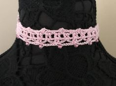 Pink Crochet Lace Choker Necklace Adjustable to 12
