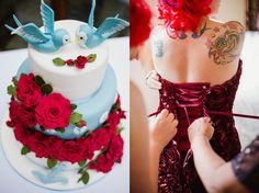 Bolo inspirado nas tatuagens da noiva (via Agora vamos Casar)