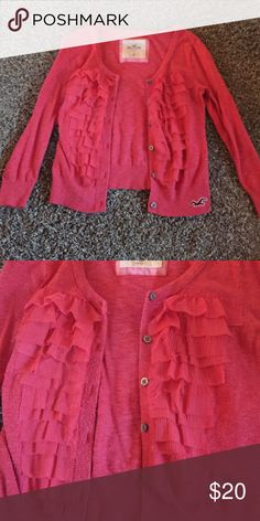 Pink cover-up Super cute pink cardigan with ruffles and buttons! In excellent condition, never been worn:) Hollister Sweaters Cardigans