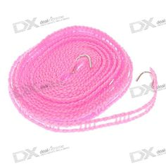 Nylon Clothes Line/Washing Line with Stainless Steel Hooks - Pink (5M-Length)