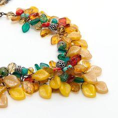 Chunky Southwestern Necklace, Statement Necklace Yellow Teal Orange, Florwer Necklace, Wedding Jewelry. $224.95, via Etsy.