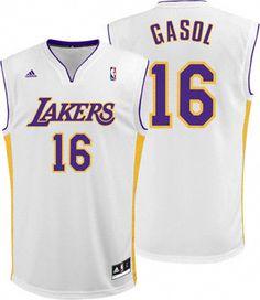 Los Angeles Lakers Pau Gasol 16 White Authentic NBA Jersey Sale