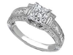 Vintage Princess Cut Diamond Engagement Ring  - ES258PR
