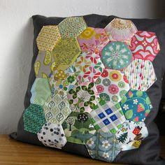 hexagon patchwork & black fabric