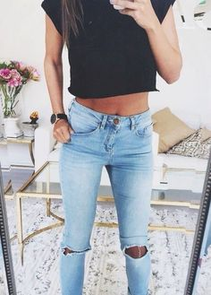 black crop top + ripped jeans