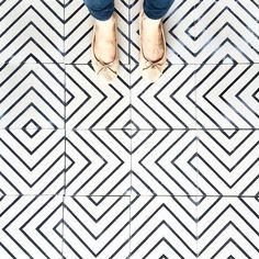 White and black geometric flooring                                                                                                                                                                                 More