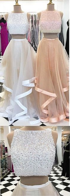Two Pieces prom dress,prom dress,prom dresses,Charming Prom Dresses, Floor-Length Evening Dresses,Prom Dresses 2017,sequin prom dress