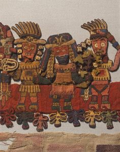 The Paracas textiles were found at a necropolis in Peru in the 1920s. The necropolis held 420 bodies who had been mummified and wrapped in embroidered textiles in 200–300 BCE