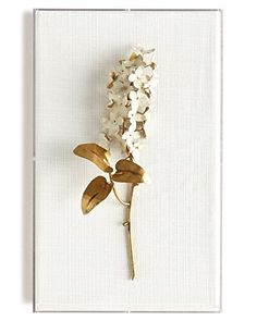 Horchow Tommy Mitchell Original Gilded Lilac on White Linen Acrylic Wall Art, Acrylic Box, Graduation Party Decor, White Home Decor, Metal Flowers, Dried Flowers, Paper Flowers, Handmade Home Decor, Wall Sculptures