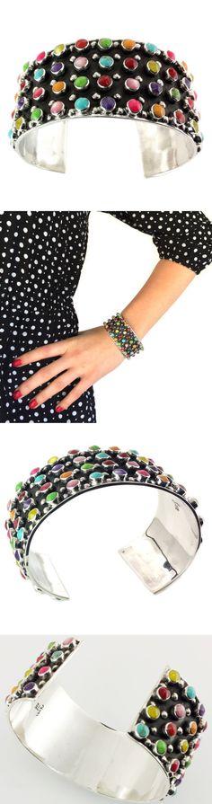 Bracelets 98489: Vintage Style Taxco 925 Multicolor Cuff Bracelet |Mexico Sterling Silver Jewelry -> BUY IT NOW ONLY: $179.95 on eBay!